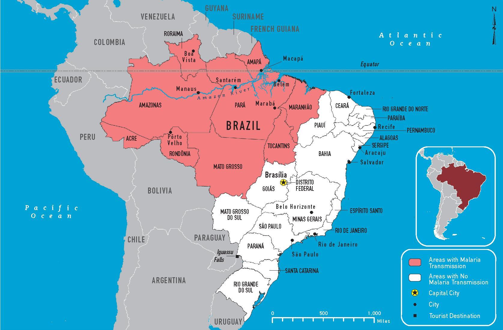 Malaria Brazil map Brazil malaria map South