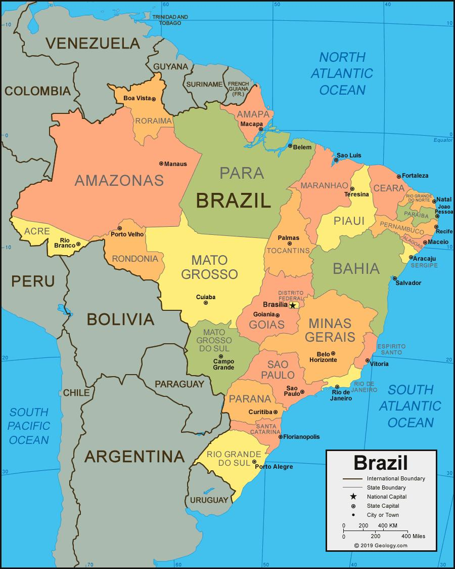 Brazil map with cities and states - Map of Brazil with cities and ...