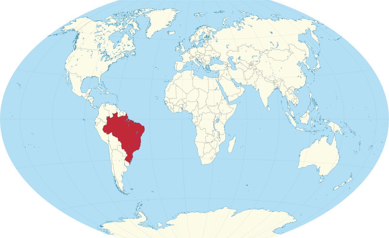 Brazil on world map brazil map world south america americas brazil map world gumiabroncs Choice Image