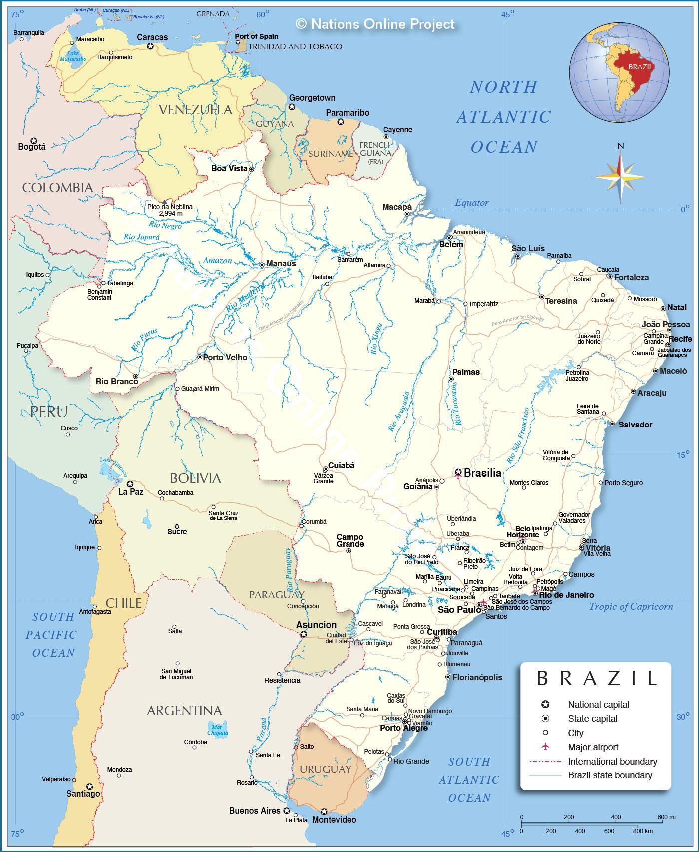Brazil river map - Map of Brazil rivers (South America - Americas)
