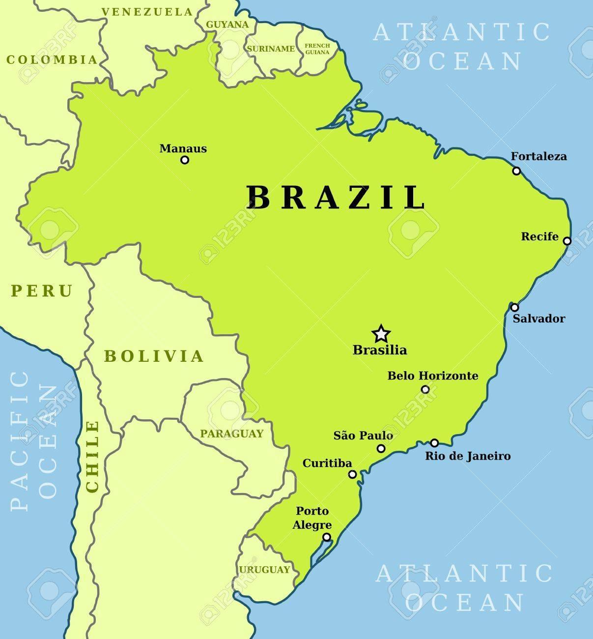 Map Of Brazil Cities Brazil Map Of Cities South America Americas - Map of brazil with cities