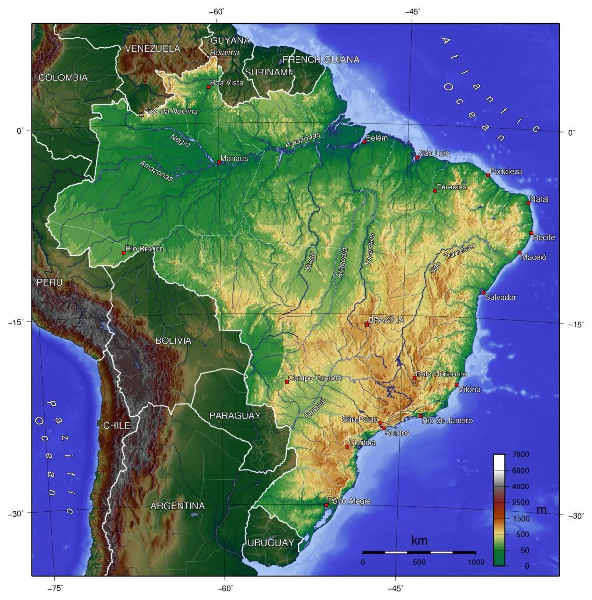 Brazil Elevation Map Elevation Map Of Brazil South America