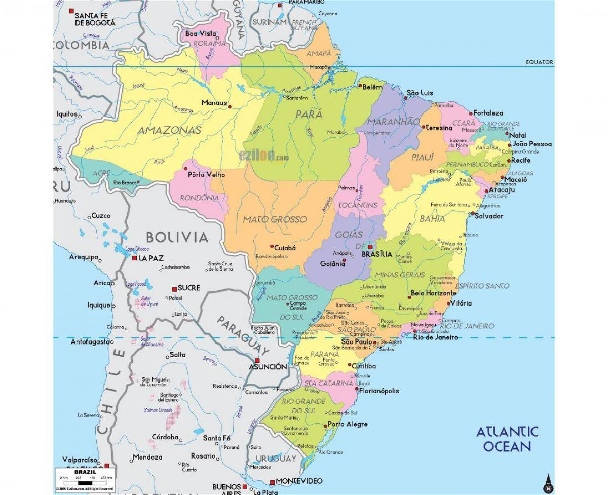 Brazil map major cities - Map of Brazil with major cities (South ...