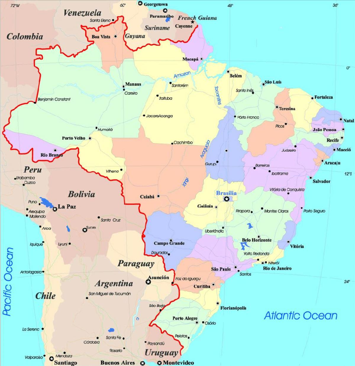 Brazil Map With Cities Map Of Cities In Brazil South America - Aracaju map