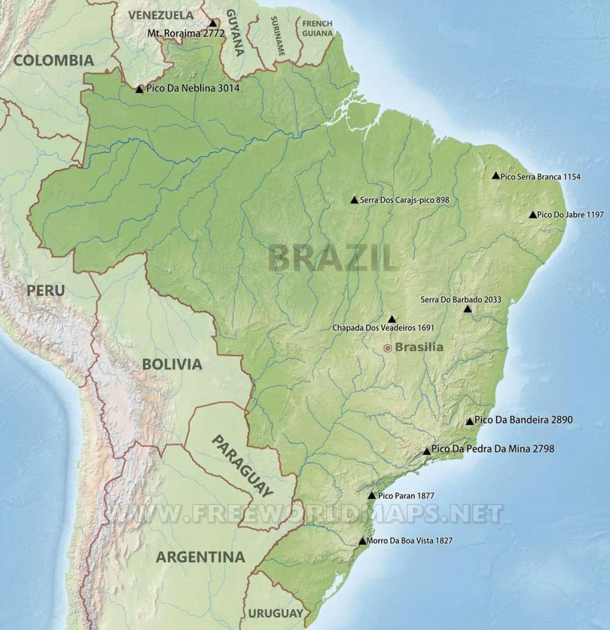 Picture of: Brazil Mountains Map Mountains In Brazil Map South America Americas