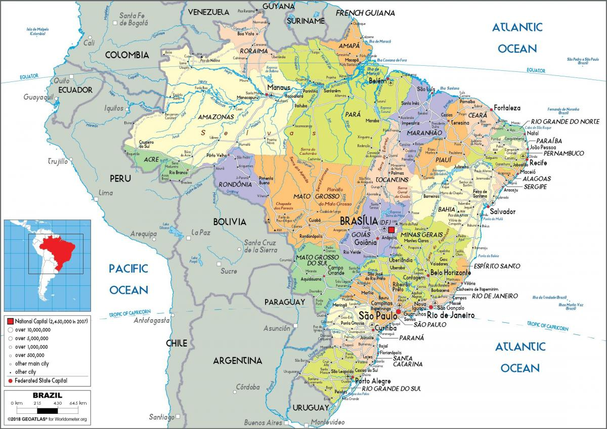 Brazil on map - Brazil in the map (South America - Americas)