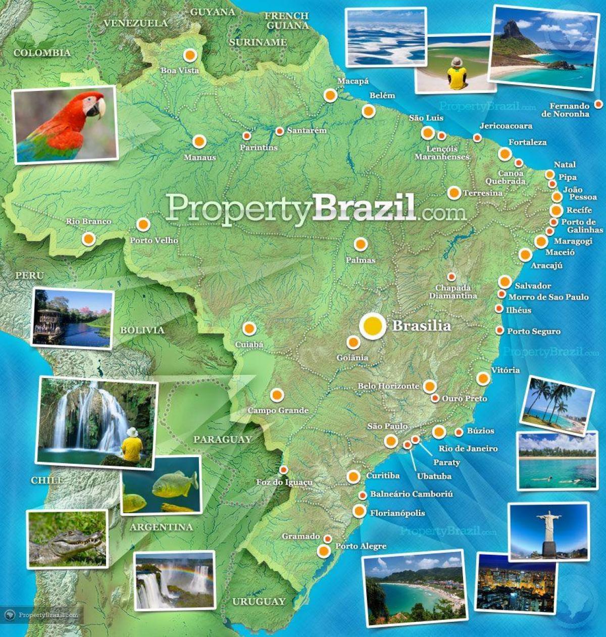 Brazil tourist map Tourist map of Brazil South America Americas