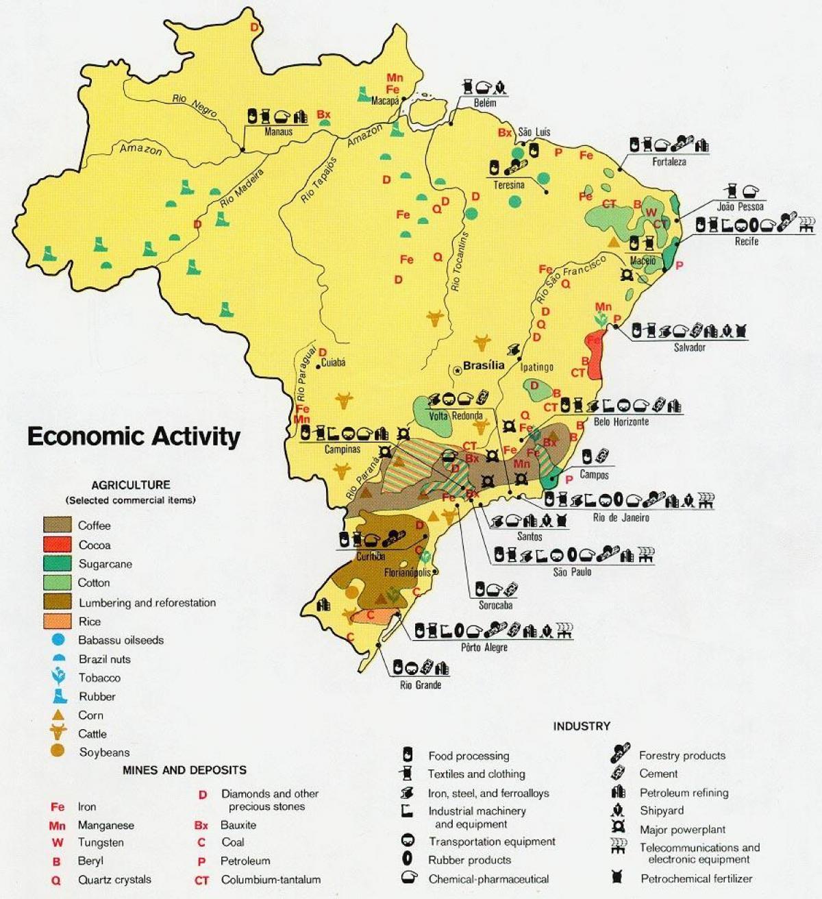 Economic map of Brazil Economic map Brazil South America Americas