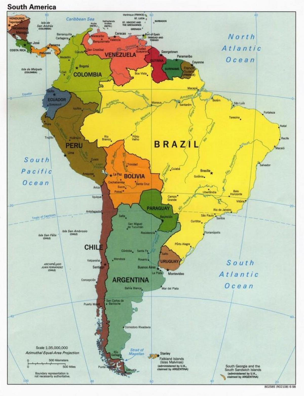 Map of Brazil and surrounding countries - Map of Brazil ...